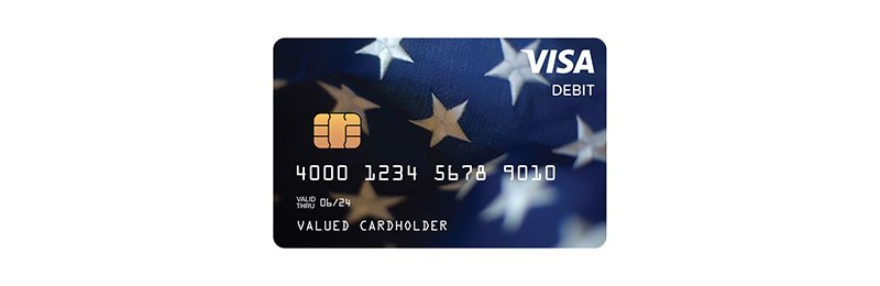Visa Debit card with American flag image in background