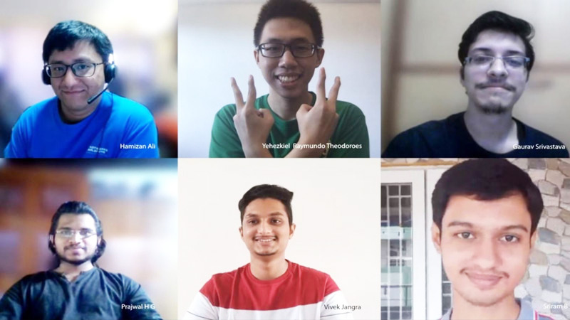 Split screen with 6 interns celebrating their win on video chat.