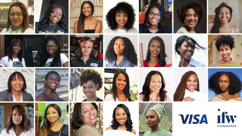Collage of 25 profile pictures of Visa and IFundWomen black-owned business grantees