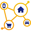 Chart depicting a house, shopping cart, car, and watch connected. Illustration.