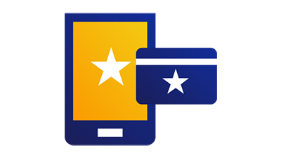 A white star on a tablet screen and on a credit card.
