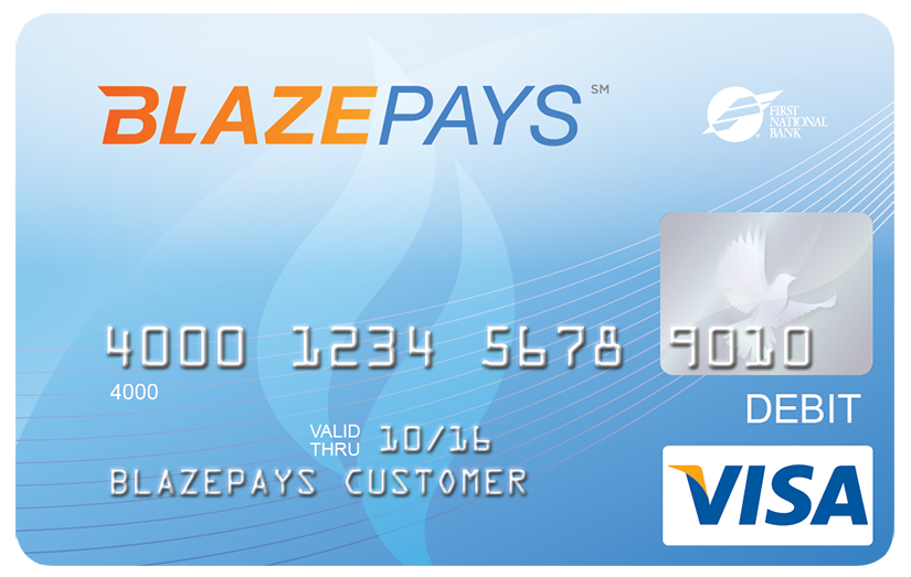 BlazePays - Issued by First National Bank