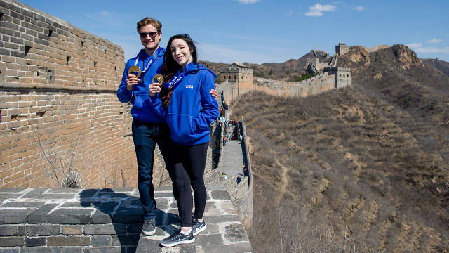 U.S. Olympic gold medalists at the Great Wall of China