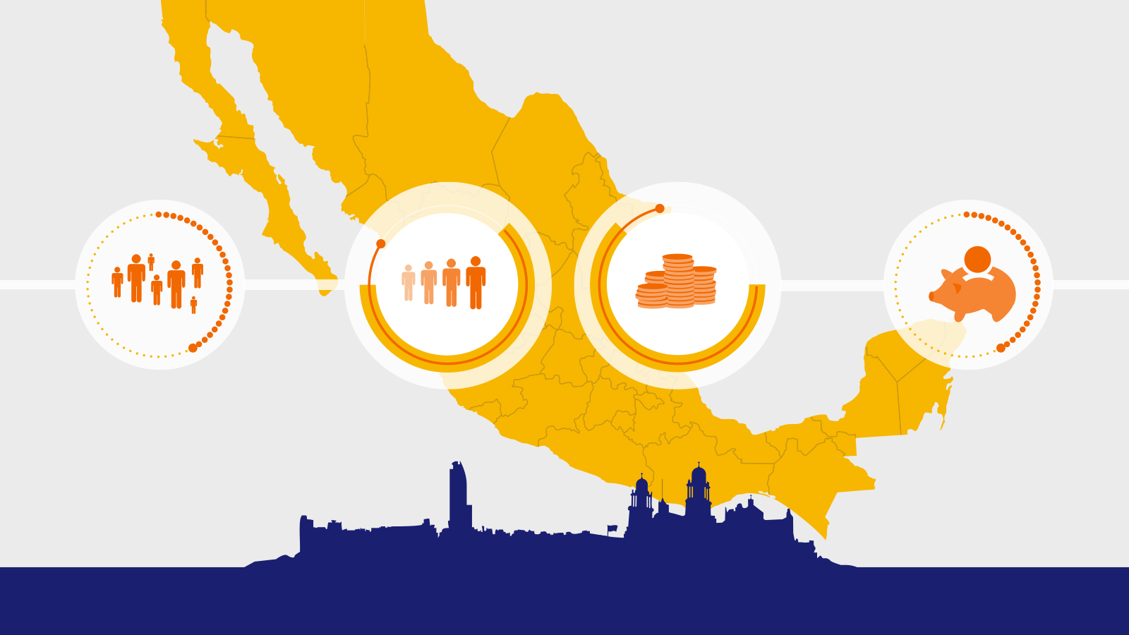 An illustration of Mexico that depicts the growing use of mobile payments in the country.