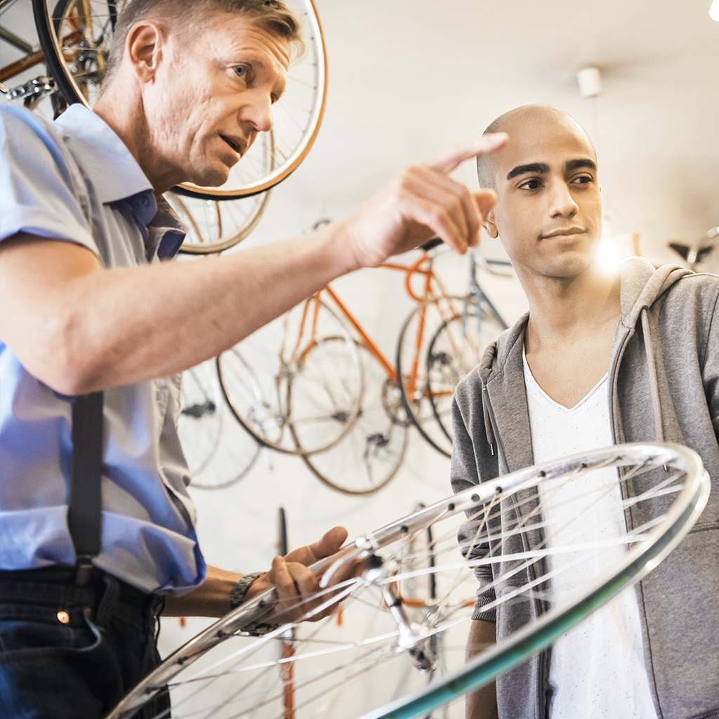 Male customers in a bikeshop