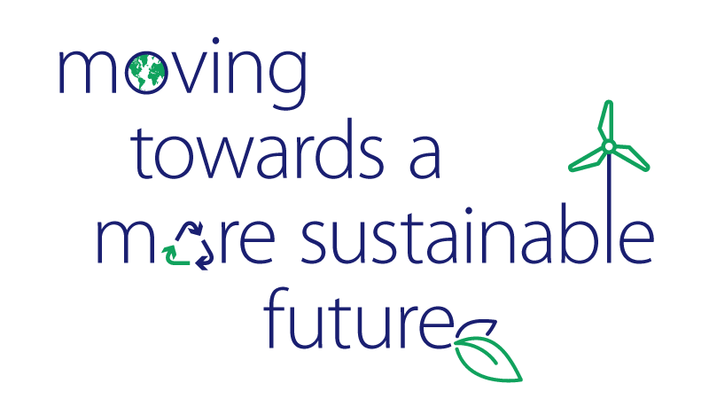 Text that says Moving towards a more sustainable future