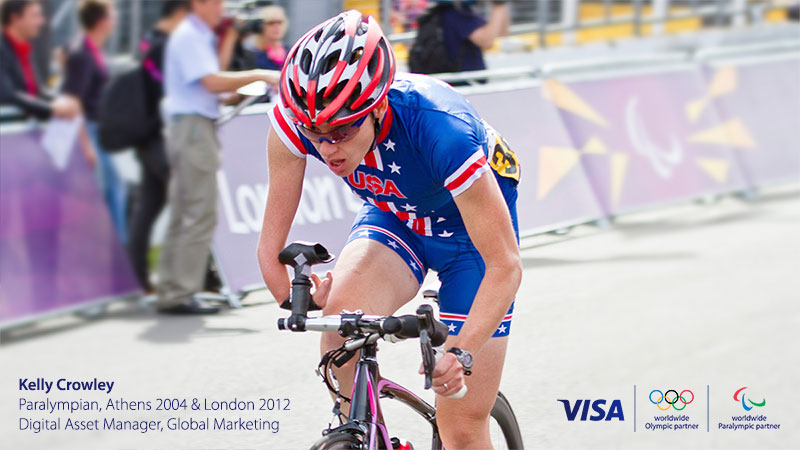 Kelly Crowley, Paralympian, riding bicycle