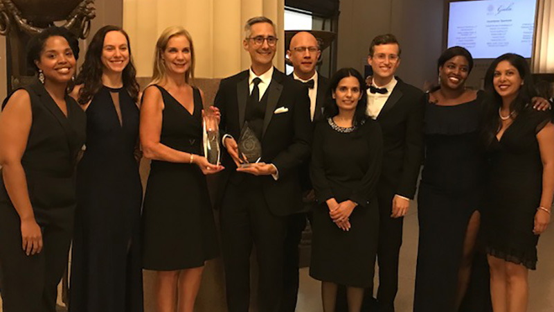 Members of Visa's Legal team celebrate winning the National Employer of Choice award from the Minority Corporate Counsel Association in New York City
