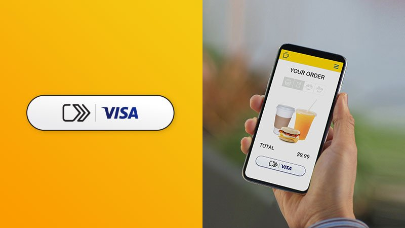 Image of a mobile device showing a screen with the Visa click to pay icon
