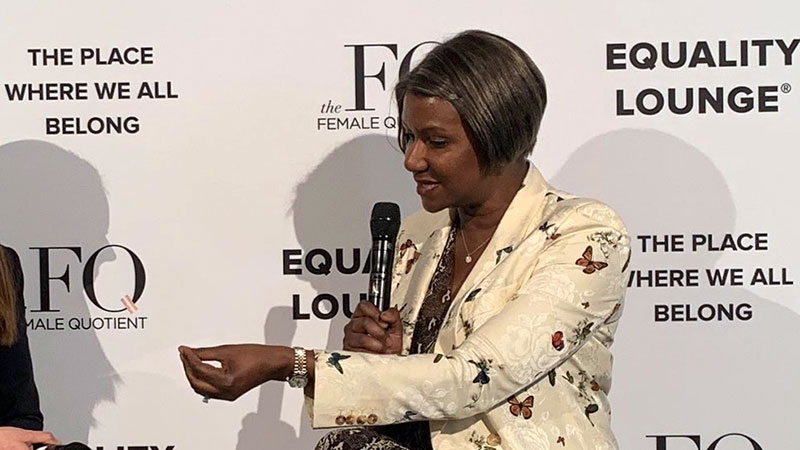 Suzan Kereere speaks on the topic of female entrepreneurship and empowerment at the World Economic Forum in Davos, Switzerland.