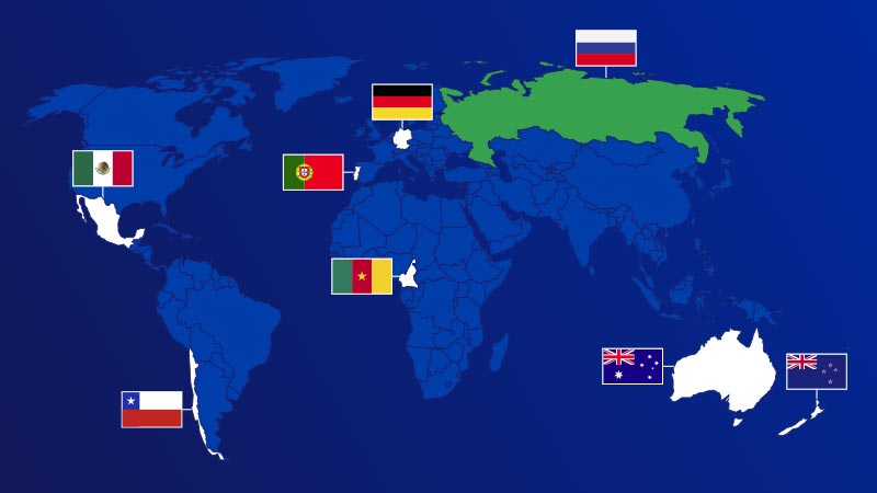 Global map identifying Mexico, Chile, Portugal, Germany, Camaroon, Russia, Australia and New Zealand with each country's flag.
