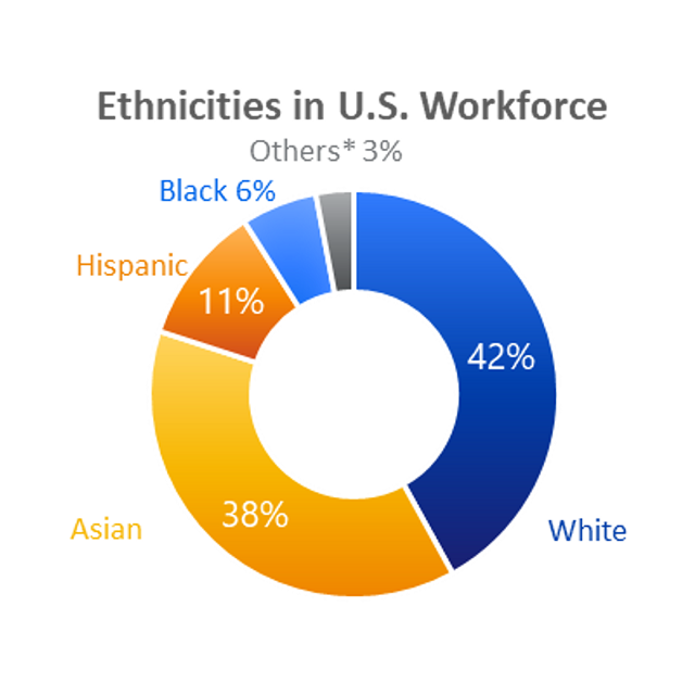 Ethnicities in U.S. Workforce. Asian 38%, Hispanic 11%, White 42%, Black 6%, Others *3%