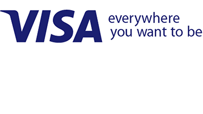 "Visa logo with ""Everywhere you want to be"" subline to its right."