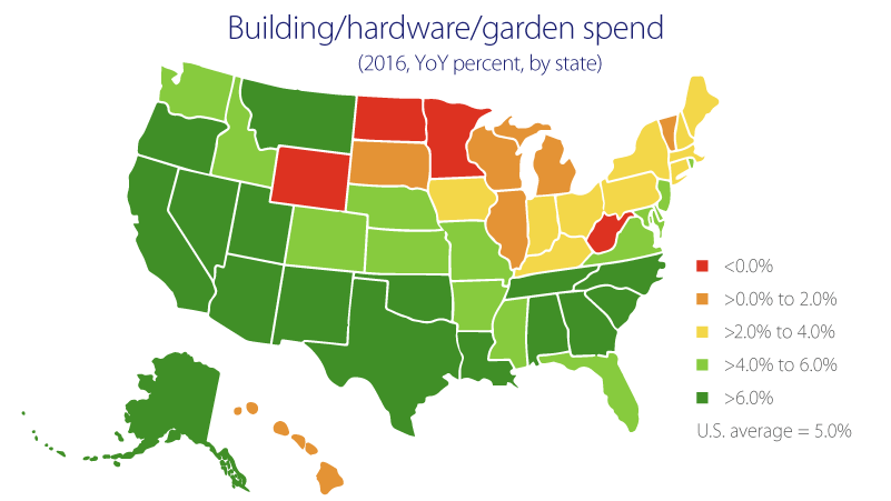 chart of U.S. showing hardware garden spending