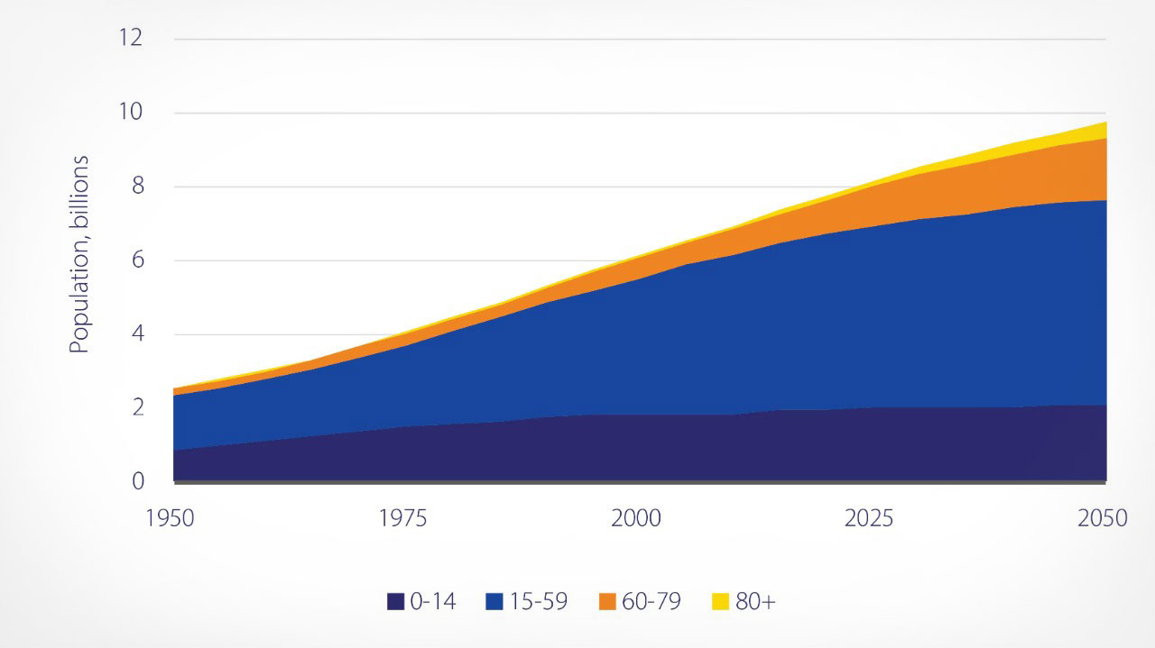 Population projection graph showing age 1-80 from 1950 to 2050.