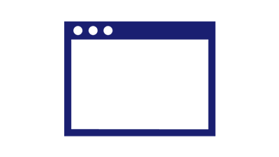 Illustration of a browser window with 3 radio buttons on the top left.