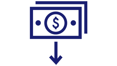 Illustration of dollar symbol in a circle enclosed in a rectangular shape with 2 blue dots and a downward arrow symbol below the rectangle.
