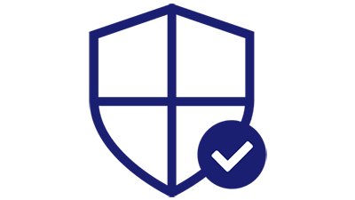 Illustration of a shield and checkmark.