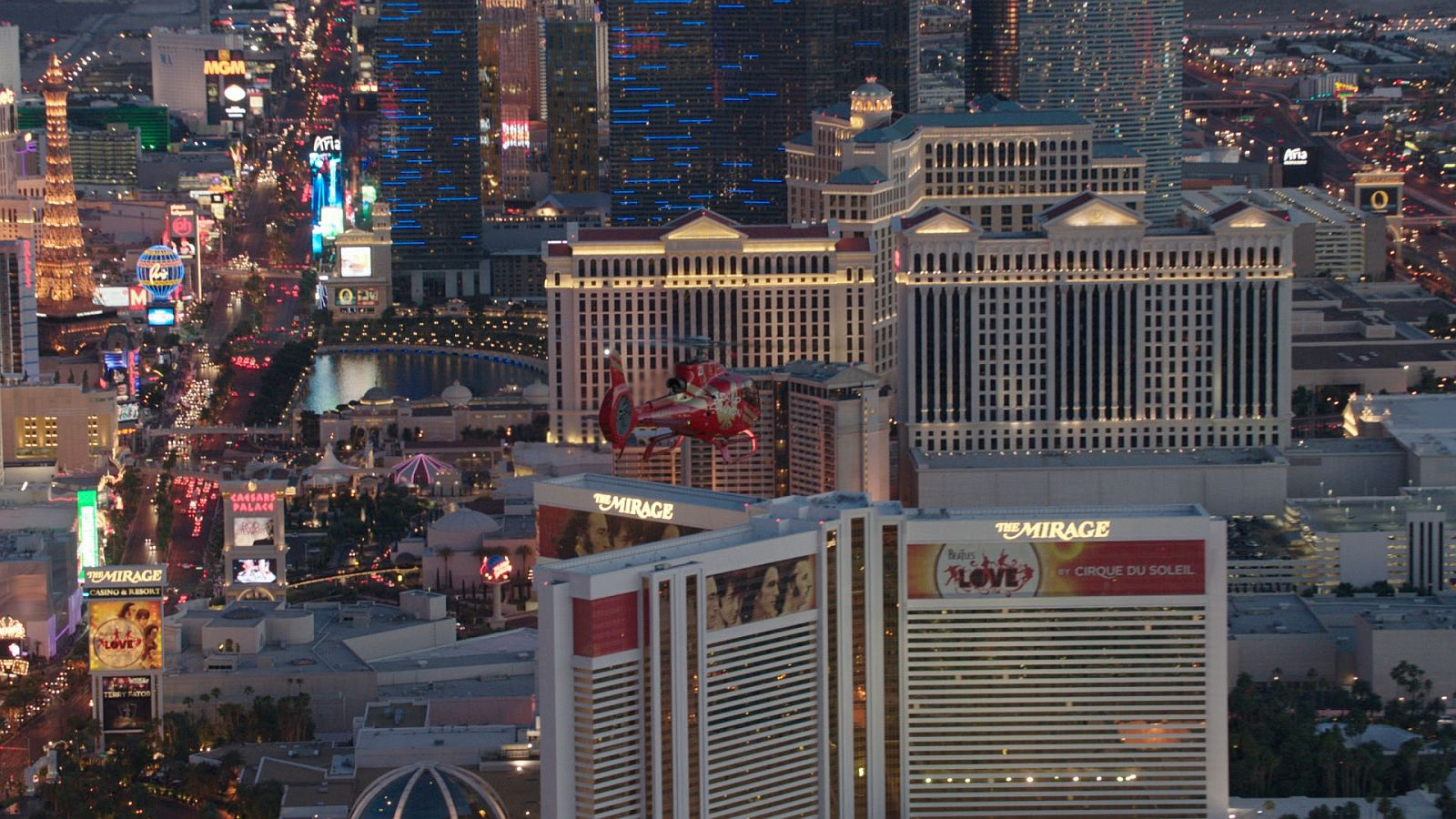 helicopter flying over Las Vegas