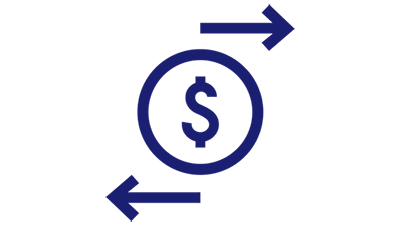 Illustration of dollar symbol enclosed in a circle with 2 arrow marks pointing in the opposite directions.