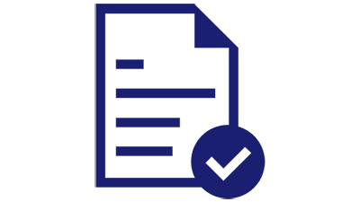 Illustration of a paper document with a check mark on the right end of the document.