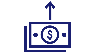 Illustration of a dollar symbol in a circle and enclosed in a rectangle with an upward arrow.