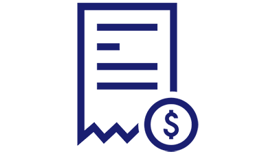 Illustration of a paper bill and a dollar symbol in a circle.