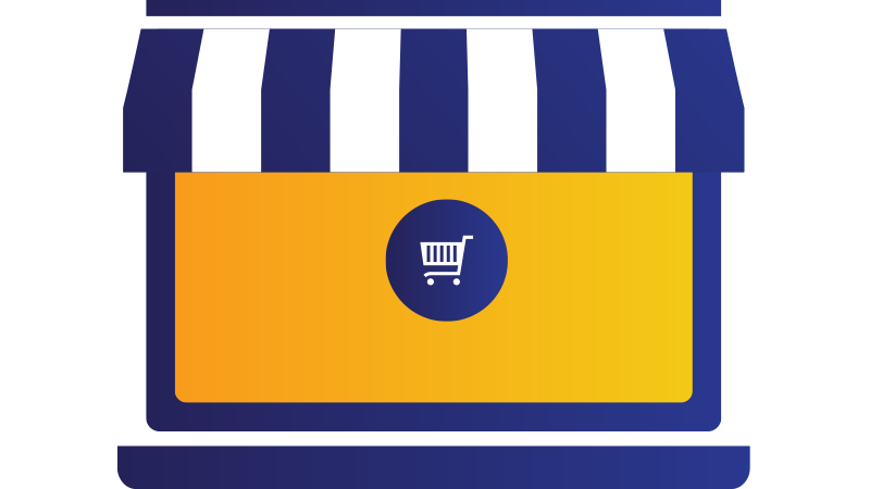Illustration: Small business store with shopping cart image in front window.