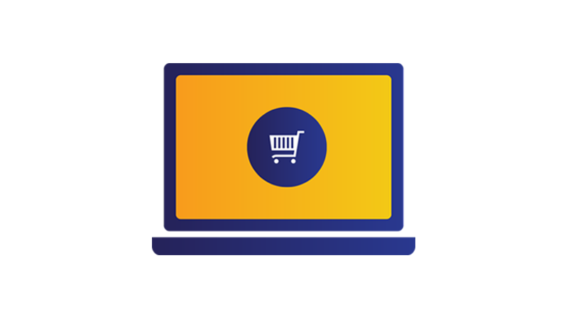 Illustration: laptop screen displaying shopping cart.