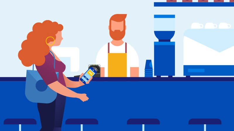 The illustration is a barista waiting for a female consumer to tap to pay her order in a coffee shop.