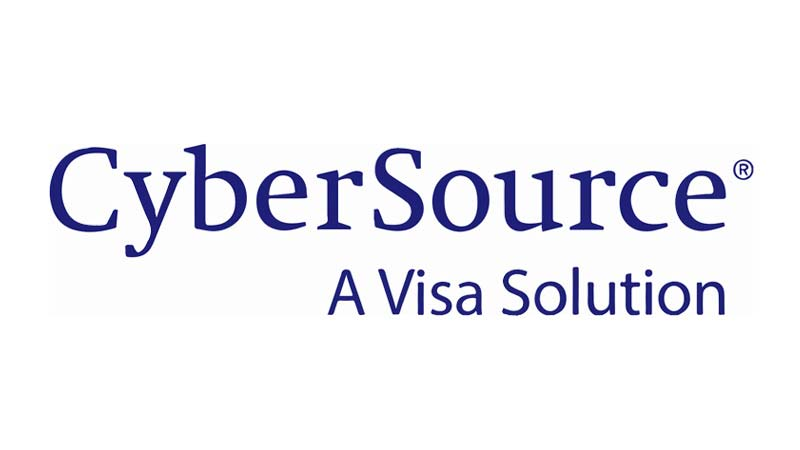 CyberSource logo with subheading A Visa Solution under it.