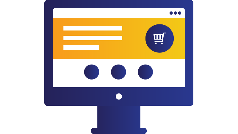 Illustration: desktop computer monitor displaying shopping cart for order.