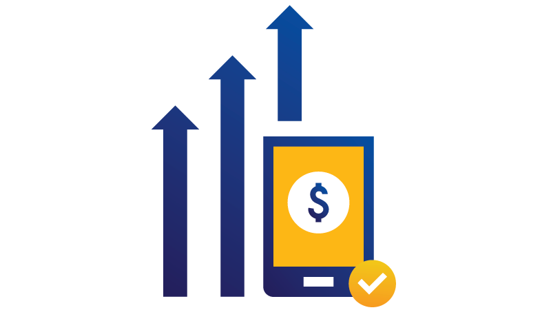 llustration: Upward trending arrows behind tablet displaying dollar sign with checkmark at bottom.