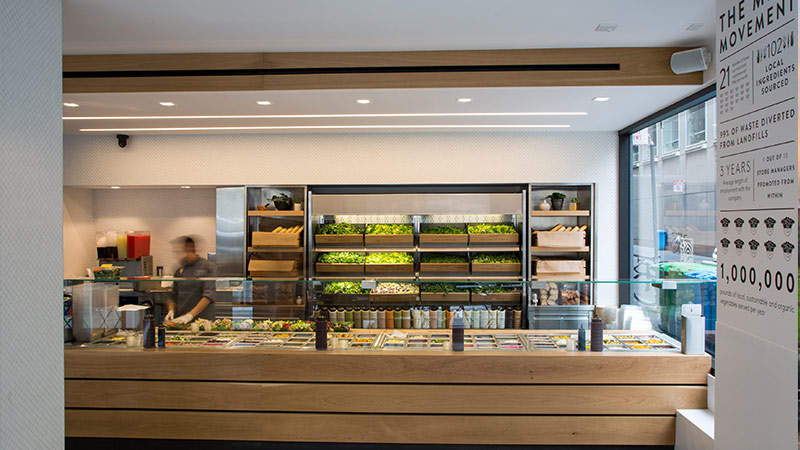 Inside view of Mixt restaurant.