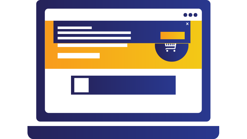 Illustration: laptop displaying shopping web site.