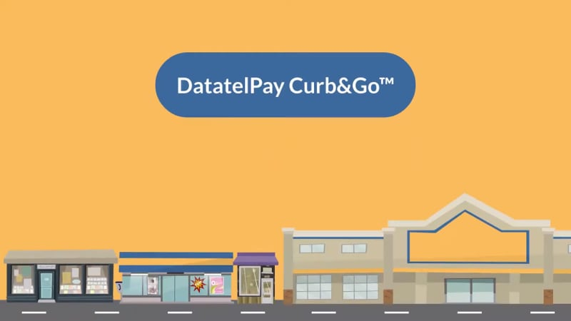 DataTelPay Curb and Go trademark text on an illustration.