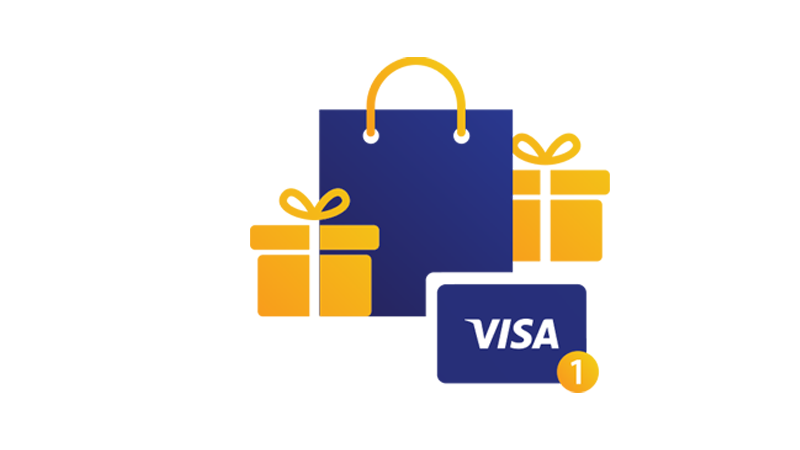 Illustration: Shopping bag, wrapped gifts and Visa card.