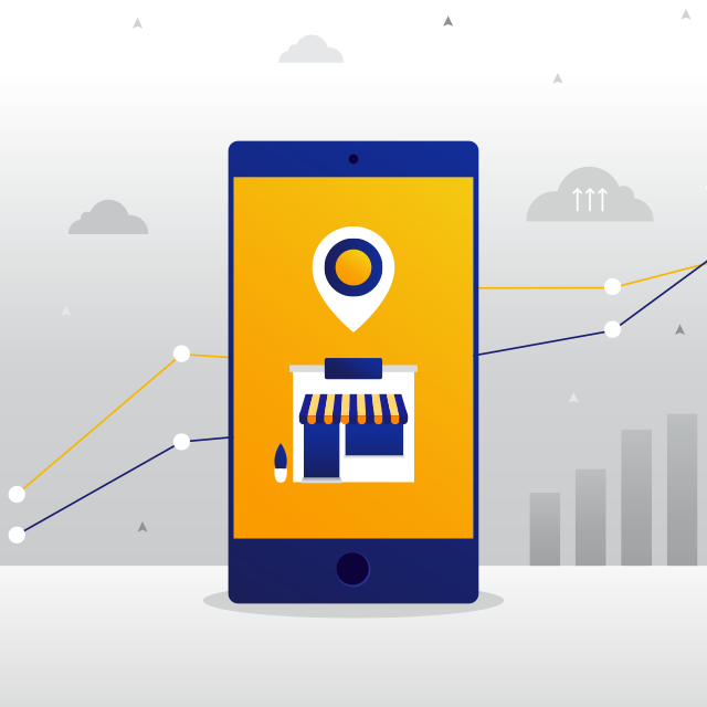 Illustration: mobile phone displaying small business store front with geo location symbol above it superimposed on background of charts and graphs.