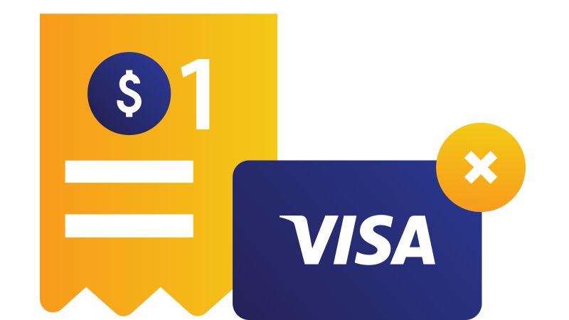 Illustration: Visa card with X in corner superimposed over a sales receipt for one dollar.