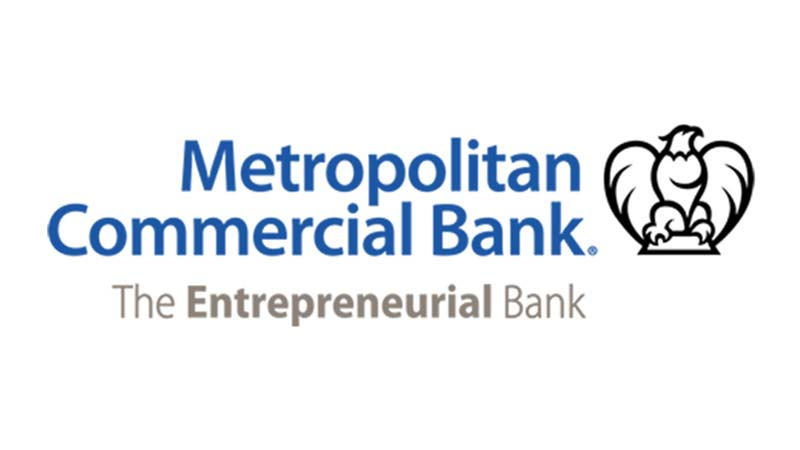 Metropolitan Commercial Bank logo with subheading The Entrepreneurial Bank under it.