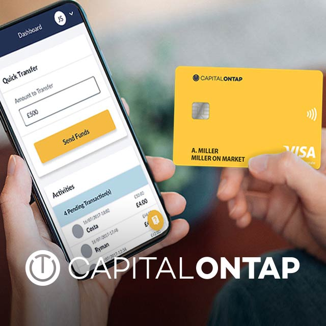 Capital on Tap logo overlaid over image of person using their Capital on Tap card to make a mobile purchase.