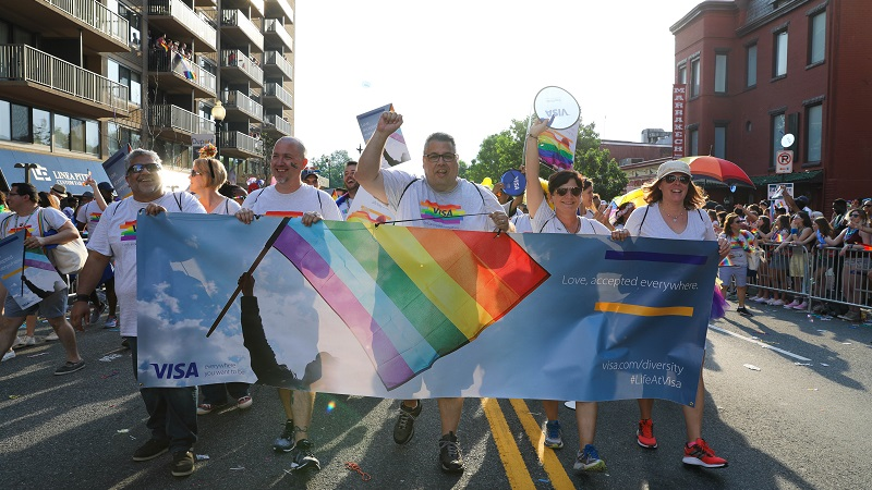 visa employees at the ashburn pride parade