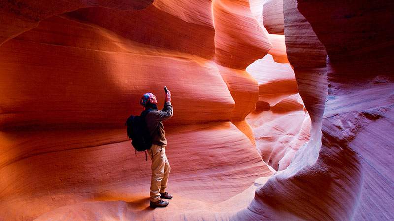 Hiker in Antelope Canyon