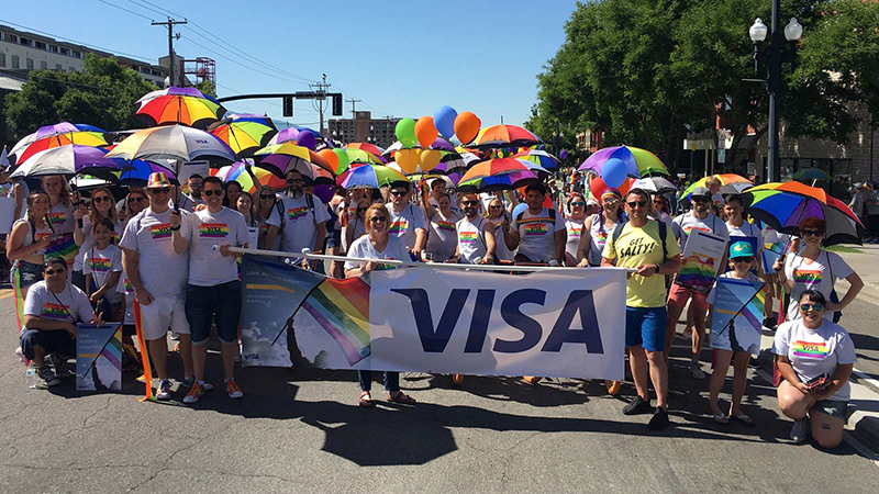 visa employees at the utah pride parade