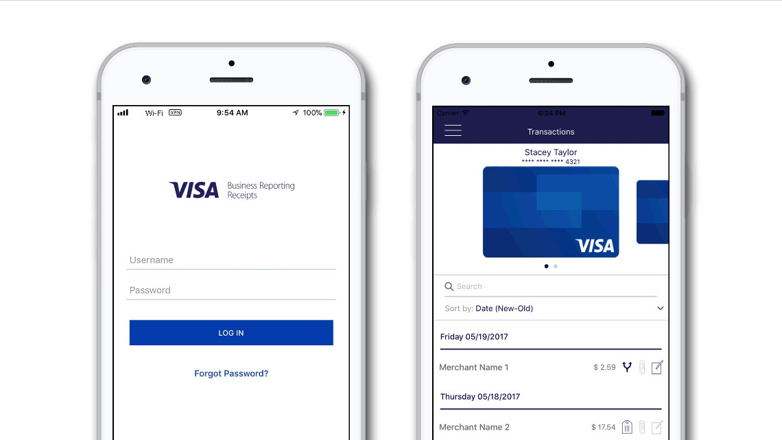 visa business reporting receipt app