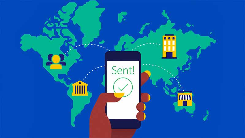 Illustration of a payment being sent around the world from a phone.