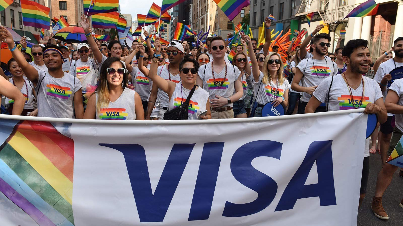 visa employees at pride parade