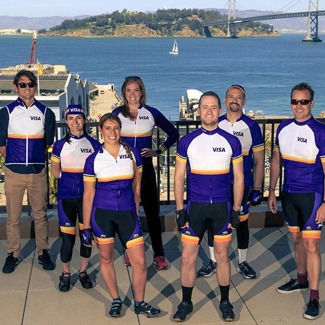 team visa emloyees go biking for a cause