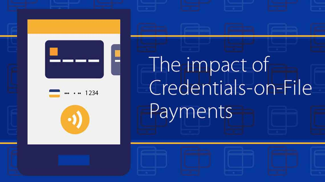 "Illustration: mobile phone displaying Visa card, contactless logo and the text ""The impact of Credentials-on-File Payments."