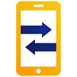 data transfer on smartphone illustration icon
